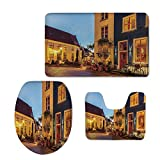 iPrint Printed,European,Ancient Dutch Street Houses Small Restaurants Doesburg The Netherlands,Yellow Red Blue,3 Piece Toilet Cover Set