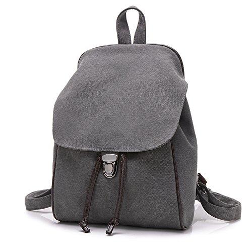BYD - Mujeres School Bag Bolsos mochila Bolsa de viaje Canvas Bag Carteras de mano Bolsos bandolera with Mutil Function Pocket and 1 Lock Clap Gris