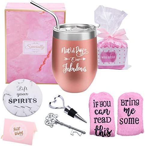 Yorktend Not a Day Over Fabulous Wine Tumbler – Fun Birthday Gifts for Women – Funny Birthday Wine Gifts Ideas for Her, Friend BFF, Mom, Grandma, Wife, Daughter, Sister, Aunt, Coworker