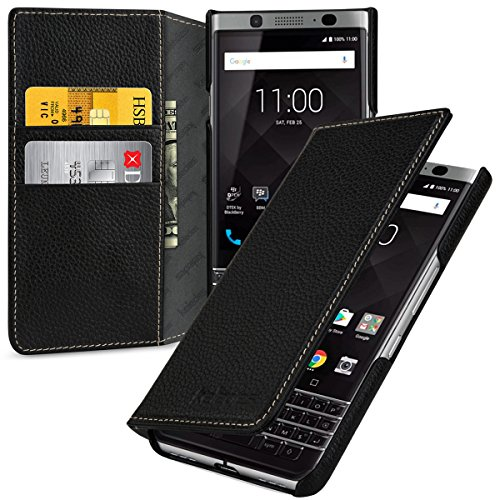 Black Blackberry Leather Folio (Blackberry Keyone Wallet Case Leather,Keledes Blackberry Keyone Leather Wallet Case Flip Case Premium Real Leather Genuine Leather Wallet Book case Folio cover Case wallet for Blackberry Keyone,Black)