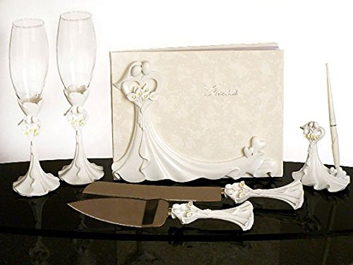 bride-and-groom-calla-lilys-wedding-set-guest-book-pen-set-cake-serving-set-toasting-flutes