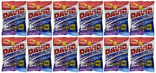 - DAVID Sunflower Seeds Jumbo Sweet and Salty - Bag 5.25 oz each (12 Pack)