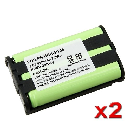 eForCity 2x 900mAh NiMh Cordless Battery Compatible with Panasonic HHR-P104 286642