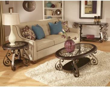 Standard Furniture Bombay 3 Piece Glass Top Coffee Table Set In Burnished Antique Bronze Amazon Ca Home Kitchen