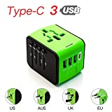 CoCoCity International Universal Travel Charger, Power Adapter Type C+3 USB Port [UK EU US Asia Au] Wall Charger Plug Worldwide AC Power Plug Converters Socket (Green)