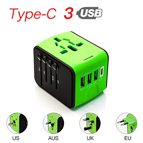 CoCoCity International Universal Travel Charger, Power Adapter Type C+3 USB Port [UK EU US Asia Au] Wall Charger Plug Worldwide AC Power Plug Converters Socket (Green) by CoCoCity