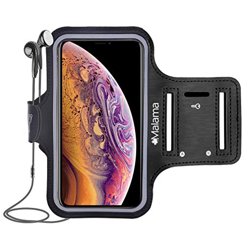 Malama Waterproof Phone Armband Case for iPhone Xs Max, XR, X, 8 Plus, 7 Plus, 6 Plus, 6S Plus, iPod Samsung Galaxy S9 Plus, S8 Plus with Key Cards Money Holder for Running, Jogging, Hiking 6.5''
