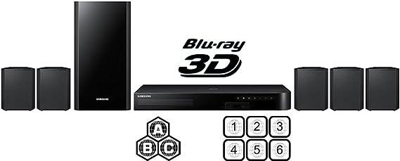 Samsung - Sistema de Cine en casa Smart BLU-Ray DE 5,1 Canales, multizona, Reproductor de DVD de Disco BLU Ray, PAL/NTSC, USB y multisistema de 6 pies, Cable HDMI HTC: Amazon.es: Electrónica