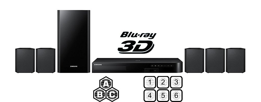 SAMSUNG Region Free HT-J4500 5.1-Channel Smart Blu-ray Home Theater System- Multi Zone All Region Blu Ray Disc DVD Player - PAL/NTSC - USB & 6 Feet Multi System HDMI Cable HTC