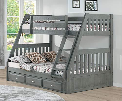 American Furniture Classics Model 4818-K3 Solid Acacia Hardwood Twin/Full Three Drawers in Chestnut bunk Bed, (American Furniture Classics Bunk Bed Twin Full)