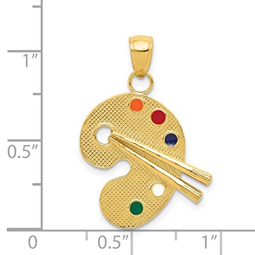 14k Enameled Artist Palette Pendant by DiamondJewelryNY (Image #3)