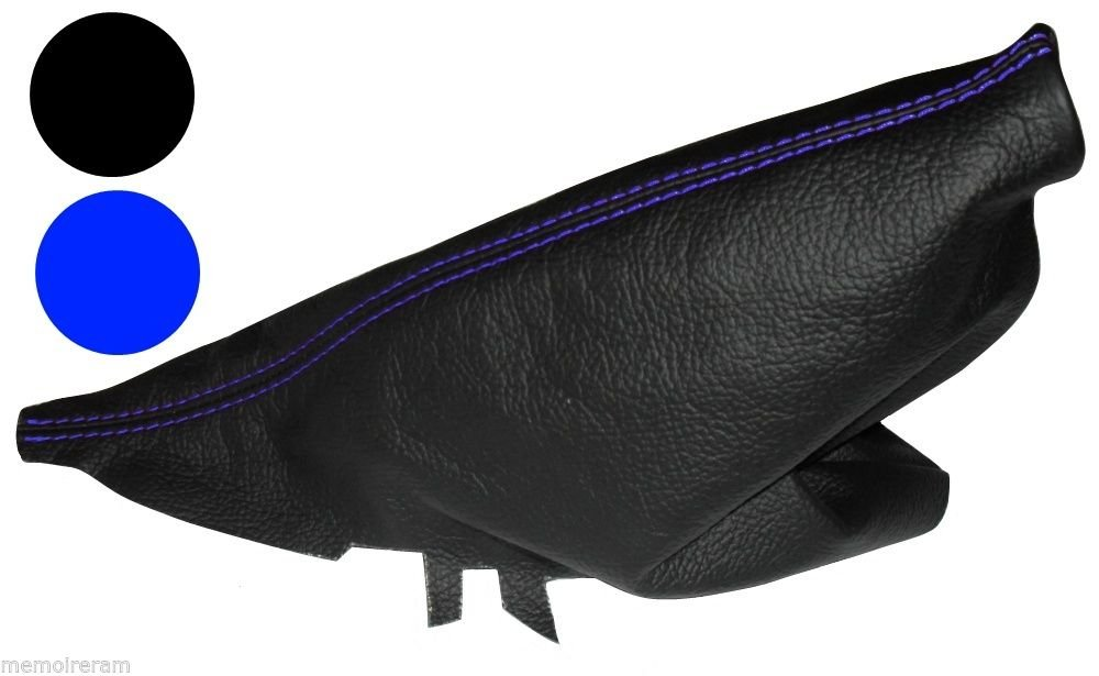 AERZETIX - Soufflet de Frein à Main Noir en 100% Cuir véritable Coutures Bleues pour Mini Cooper 2001-2006 3800946191667