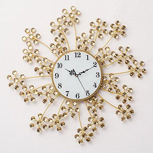 ALUPモダンファッションシンプルなクリエイティブな装飾的な壁時計スノーフレーク花びらのアクリルブライトダイヤモンドアイアン腕時計 (色 : ゴールド) B07F234654 ゴールド ゴールド