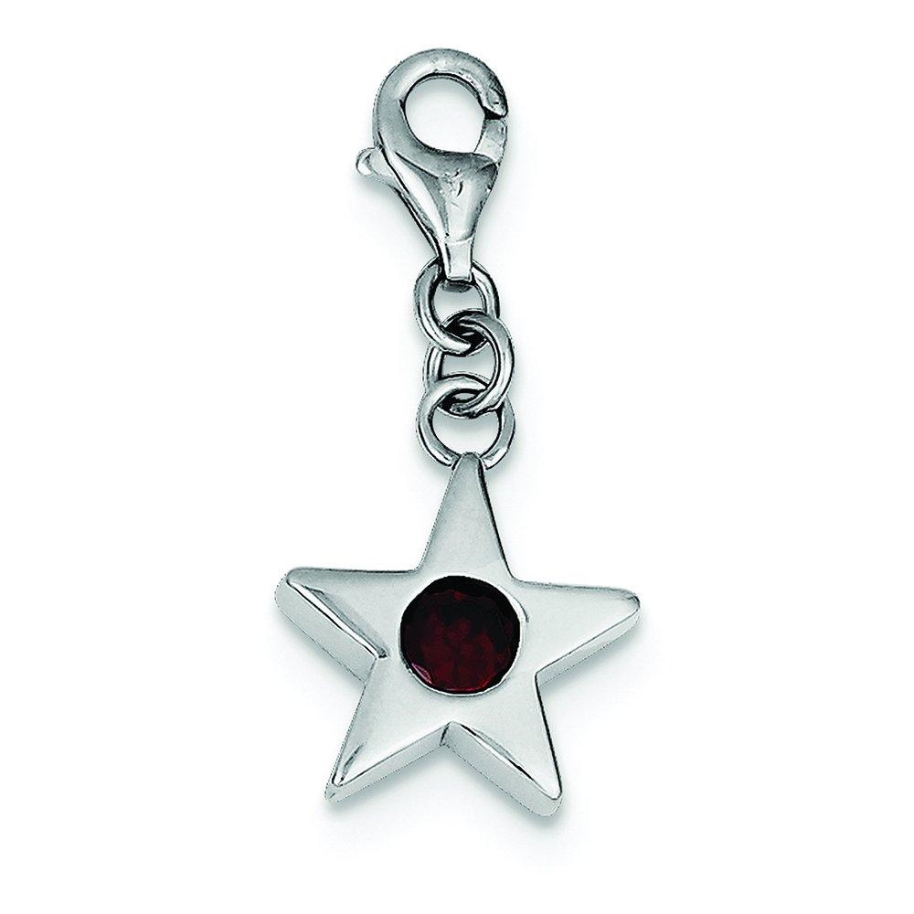 .925 Sterling Silver January CZ Birthstone Star Charm Pendant