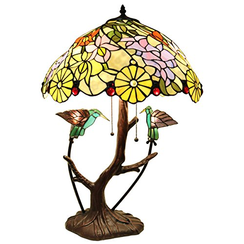 Shiyee Love Birds Stained Glass 26-inch 2-light Table Lamp (Bronze Table Billiard)