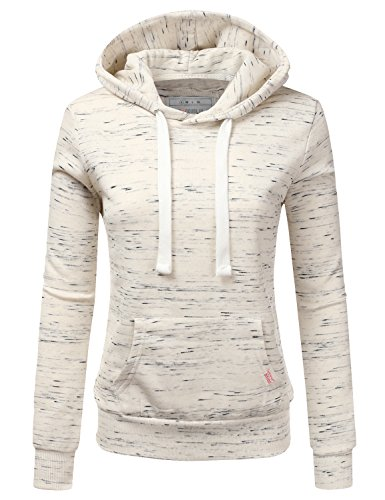 Doublju Basic Lightweight Pullover Hoodie Sweatshirt for Women MARLEDOATMEAL 1X Plus Size
