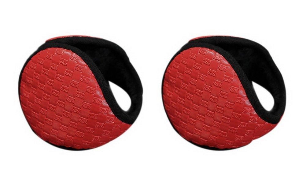 2 Pcs Warm Earmuffs Women's Winter Earmuffs Students Wear Plaid Style Red Warmer by Gentle Meow