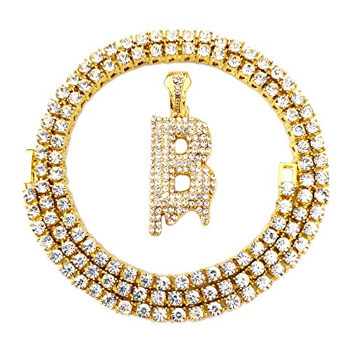 HH Bling Empire Iced Out Hip Hop Gold Faux Diamond Bubble Dripping Letter Tennis Chain Necklace 20 Inch (Dripping Letter (Mens Letter)
