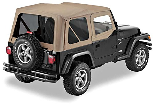 Pavement Ends by Bestop 51197-33 Dark Tan Replay Replacement Soft Top Tinted Back Windows w/ Upper Door Skins for 1997-2006 Jeep Wrangler