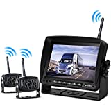Wireless Backup Camera with Monitor System For RV Rearview Reversing Back Camera No Interface IP69 Waterproof + Big 7 Wireless Monitor for Truck Trailer Heavy Box Truck Motorhome (X2)