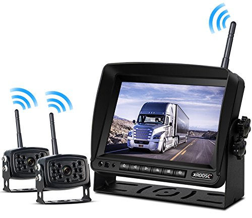Wireless Backup Camera with Monitor System Split Screen for Rv Rearview Reversing Back Camera No Interface Ip69 Waterproof + Big 7'' Wireless Monitor for Truck Trailer Heavy Box Truck Motorhome (X2)