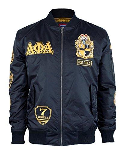 Alpha Phi Alpha Fraternity Mens Bomber Jacket Extra Large Black by Big Boy Headgear