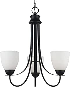 Seagull 31270-839 Lighting Chandelier with Satin EtchedGlass Shades, Finish, Blacksmith
