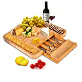 SMAGREHO Bamboo Cheese Board with Cutlery Set Wood Charcuterie Platter, Serving Tray with Slide-Out Drawer - Free 4 Piece Cheese Knife Set - Perfect Bridal Shower Gift