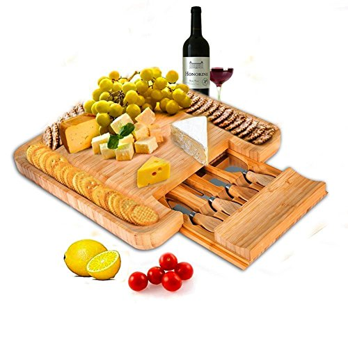 Cheese Board Knife Set (SMAGREHO Bamboo Cheese Board & Cutlery Knife Set with Slide-Out Drawer)