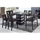 Global Furniture Modern DG072BT + Chairs/Benches Wenge Veneer & PVC Dining Set