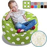 BeanBob Bean Bag Chair for Kids - Foam Filled Bean Bag - Bedroom Furniture & Sofa for Children, 2.5' Green with Polka Dots