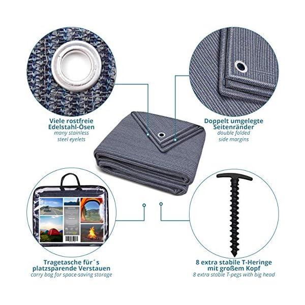 smartpeas Vorzeltteppich – Teppich blau/grau aus Polyethylen (HDPE) mit Edelstahl-Ösen robust & waschbar – mit…