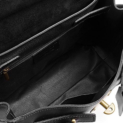Chiusura Borsa nbsp;x Italy Artegiani Italiana Firenze borsa Made Vera borsa Donna Tote 40 borsa manici 15 Pamelato Lusso Donna E Design Pelle nbsp;colore Pelle In 30 Shopper Nero nbsp;x 7RR4wq6x