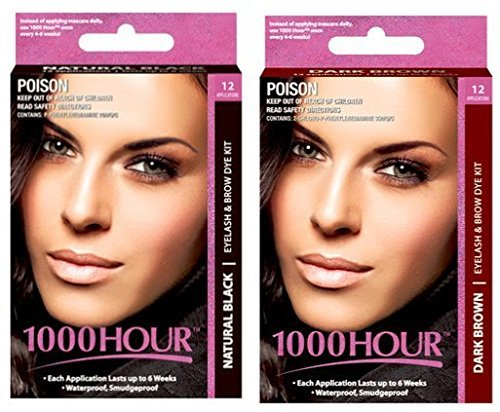 Combo Pack! 1000 Hour Eyelash & Brow Dye / Tint Kit Permanent Mascara (Black & Dark Brown) by 1000Hour