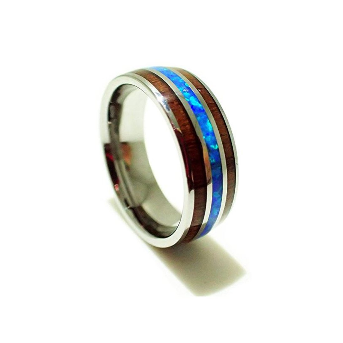 Size 8 Tungsten Carbide Koa Wood Synthetic Opal Confort Fit Ring/Wedding Band (8mm)