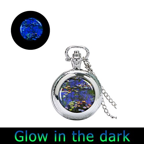 Glowlala glow Monet Art watch Pendant Necklace Vintage Spring watch Jewelry Claude Monet Water Lillies Resin watch Pendant Jewellery (1) -