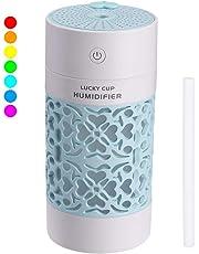 Dricar Mini Humidificateur Bébé, 250ML Portable Humidificateur d'Air Maison, USB Humidificateur d'Air Chambre Silencieux pour Bureau, Voiture avec 7 Couleurs Lumières LED, Arrêt Automatique(Bleu)