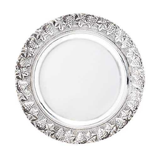 Petite Sterling Silver Kiddush Cup Plate Wine Goblet Plate Decorative Grape Rim Shabbat Judaica ()