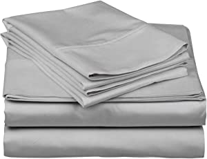 600-Thread-Count Best 100% Egyptian Cotton Sheets & Pillowcases Set - 4 Pc Silver Long-Staple Combed Cotton Bedding Queen Sheet for Bed, Fits Mattress Upto 18'' Deep Pocket, Soft & Silky Sateen Weave