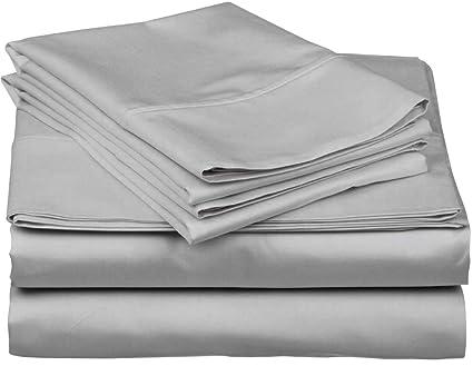 bb00b9fdba97 True Luxury 1000-Thread-Count 100% Egyptian Cotton Bed Sheets, 4-Pc King  Silver Sheet Set, Single Ply Long-Staple Yarns, Sateen Weave, Fits Mattress  ...