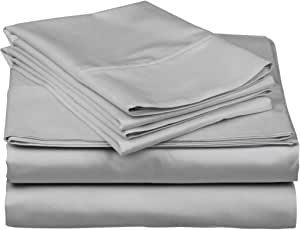 True Luxury 1000-Thread-Count 100% Egyptian Cotton Bed Sheets, 4-Pc King Silver Sheet Set, Single Ply Long-Staple Yarns, Sateen Weave, Fits Mattress Upto 18'' Deep Pockets