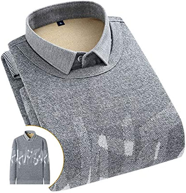 Elonglin Męskie Jungen Dicke Sweater Strick Pullover Hemd Langarmshirts mit Warmfutter Freizeit Slim Fit Grau 11 XL: Odzież