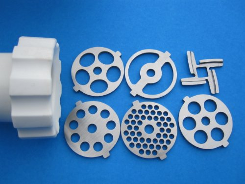 6 pc. COMPLETE SET meat grinder plates and knife for Kitchenaid FGA mixer attachment