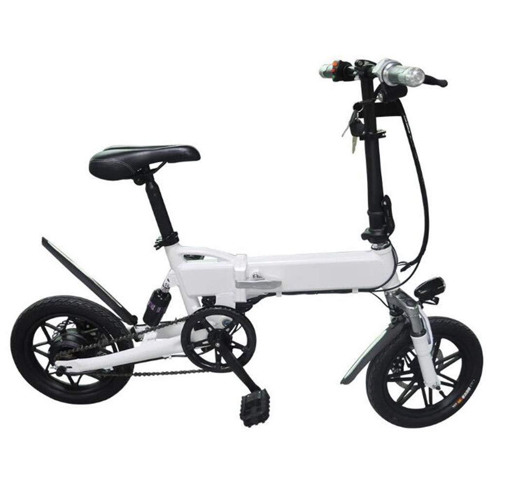自転車折りたたみ式電動自転車ペダル付き自転車14インチダブルディスクブレーキ大人用電気自動車日常のスポーツやサイクリングに最適 (Color : 白い) 白い