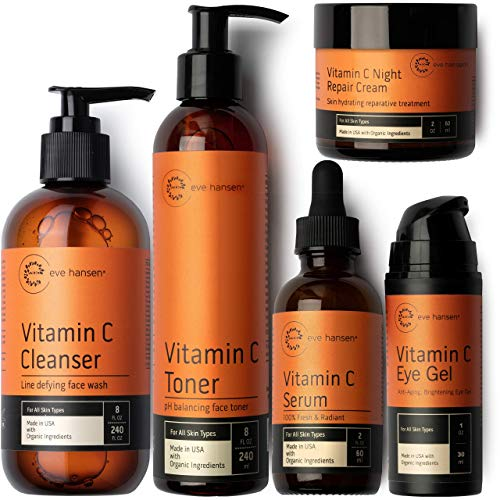 Eve Hansen Classic Vitamin C Brightening Set   Your Entire 5-Step Daily Routine to Improve Skin Tone, and Reduce Dark Spots & Fine Lines for All Skin Types