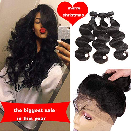 Indian Body Wave 3 Bundles with 360 Lace Frontal 10A Grade Indian Virgin Hair Bundles 100% Unprocessed Indian Human Hair Extension 360 Lace Frontal with Baby Hair (16 18 20 +14, natural black)