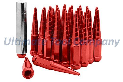 "UTC (32) Red Solid Steel Twisted 4.5"" Tall 14x1.5 Ram 2500 3500 Spike Lug Nut Security | Dodge Thread M14x1.5"