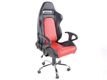 Chaise pivotante fk siège de bureau detroit noir rouge fkrse011511