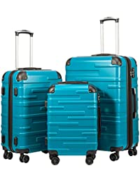 "Luggage Expandable(only 28"") Suitcase 3 Piece Set with TSA Lock Spinner 20in24in28in (lake blue)"