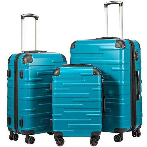 (Coolife Luggage Expandable Suitcase 3 Piece Set with TSA Lock Spinner 20in24in28in (lake blue))
